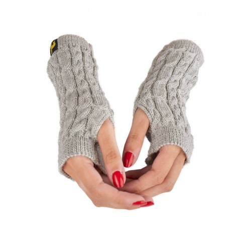 Alpaca Wrist Warmer Arosa for women, silver cable-knit | AlpacaOne