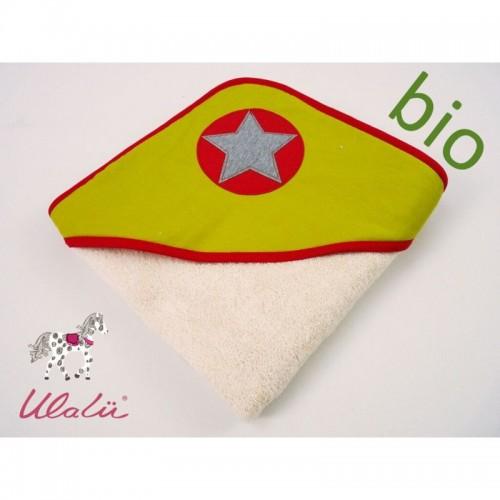 Baby Kapuzen-Badetuch STERN aus Bio-Baumwolle