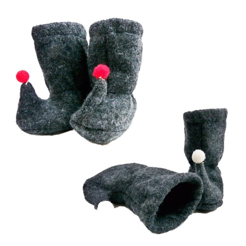 Baby Bootie with Bobble made of Organic Wool | Ulalue