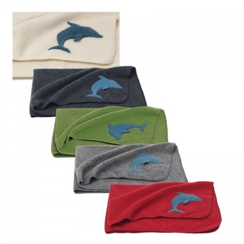 Bio Babydecke – Wickeltuch Delfin | Bio-Wolle