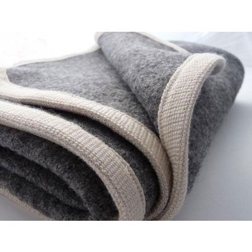 Baby Wool Blanket of certified pure new wool, grey/white | Ulalue