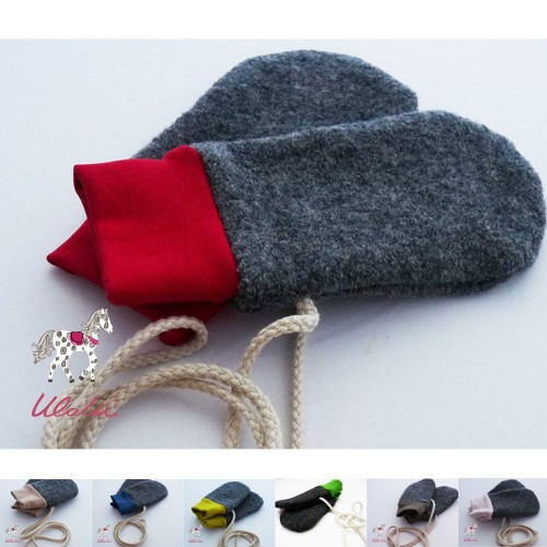 Eco Wool Broadcloth Baby Mittens without thumb, plain cuffs | Ulalue