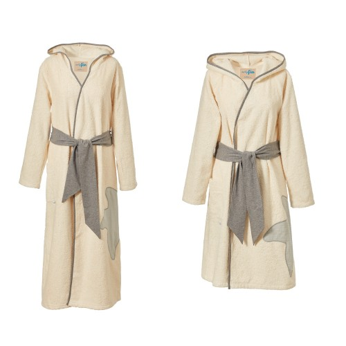 Women Organic Cotton Bathrobe Classic Natural | early fish