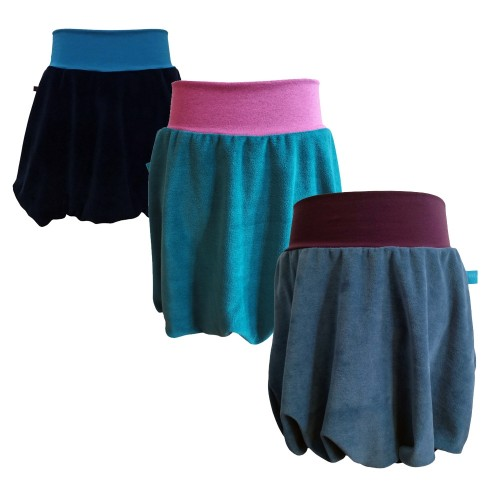 Bicoloured girl's bubble skirt, organic cotton plush | bingabonga