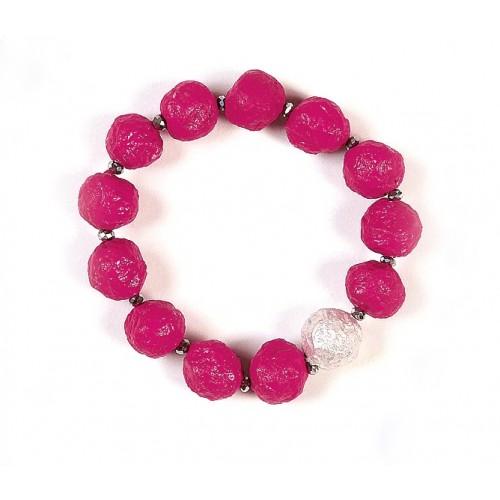 Eco Paper Bracelet Pink with silver Bead | Sundara Paper Art