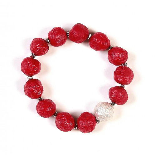 Eco Paper Bracelet red with Silver Bead | Sundara Paper Art