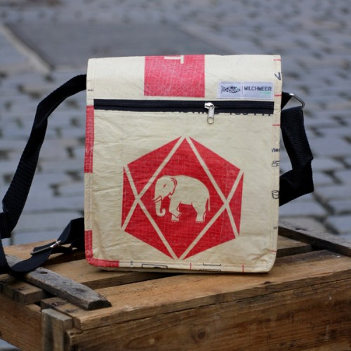 Upcycling Shoulder Bag Red Elephant