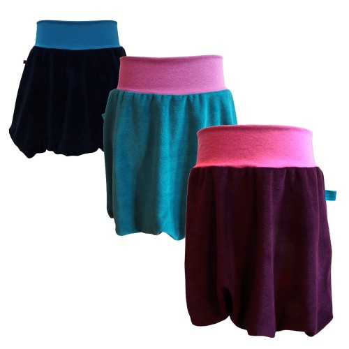 Girls plain bubble skirt of organic plush | bingabonga