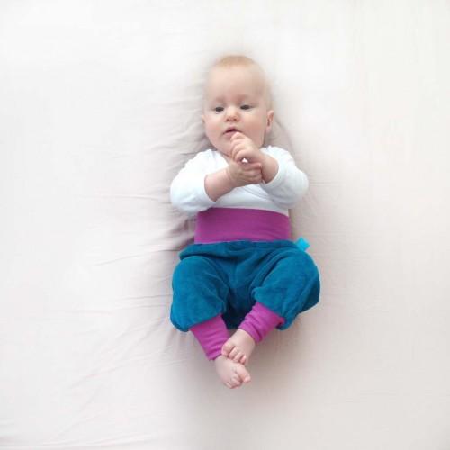 Baby Bloomers Organic Cotton Plush Petrol/Lilac | bingabonga