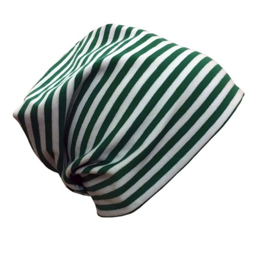 "Cap ""Line"" green-white ringed organic cotton 