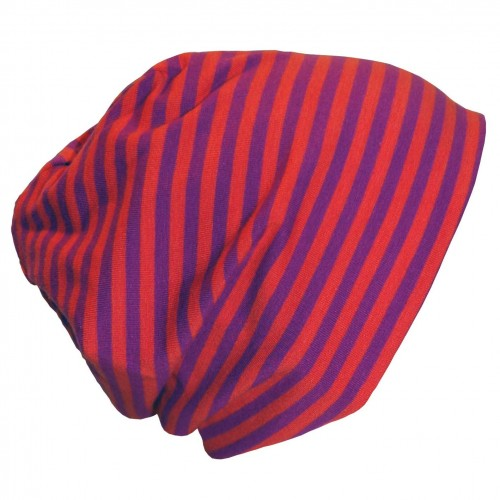 "Cap ""Line"" purple-orange ringed organic cotton 