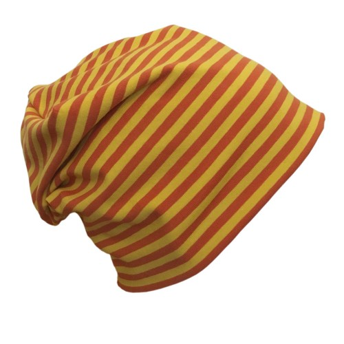 "Cap ""Line"" yellow-orange ringed organic cotton 