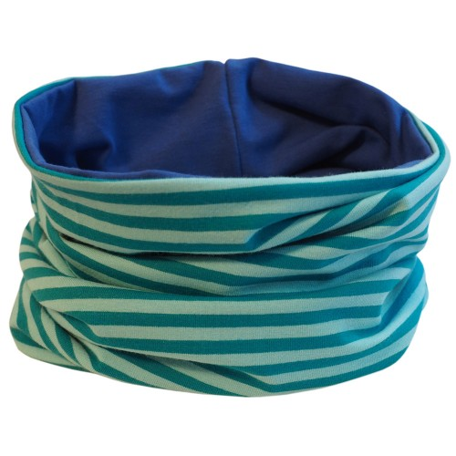 Loop scarf Aqua striped and plain Royal Blue | bingabonga