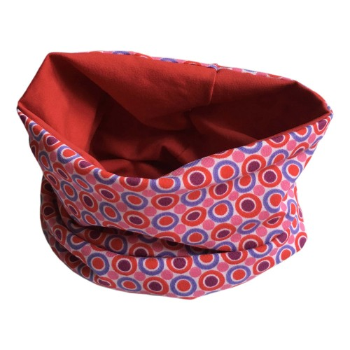 Loop scarf Retro Design Circles & Dots & plain Red | bingabonga