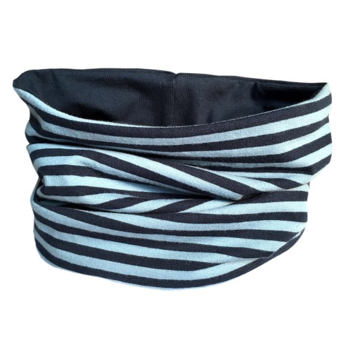 Loop scarf Navy/Blue striped and plain Blue | bingabonga