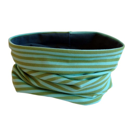Loop scarf Light blue/Moss striped/Smoke Blue | bingabonga