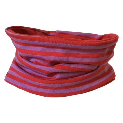 Organic jersey Loop scarf Lilac-red striped/Red | bingabonga