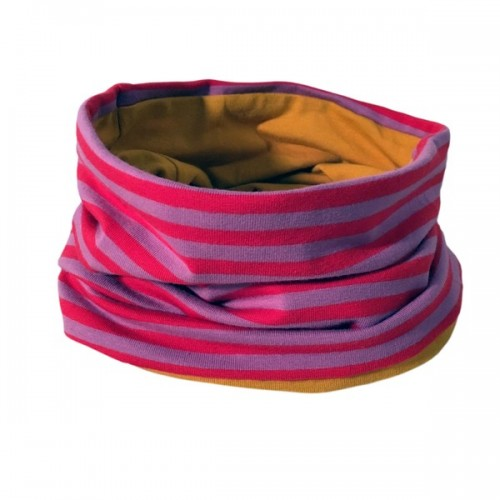 Loop scarf Lilac-red striped/Mustard Yellow | bingabonga