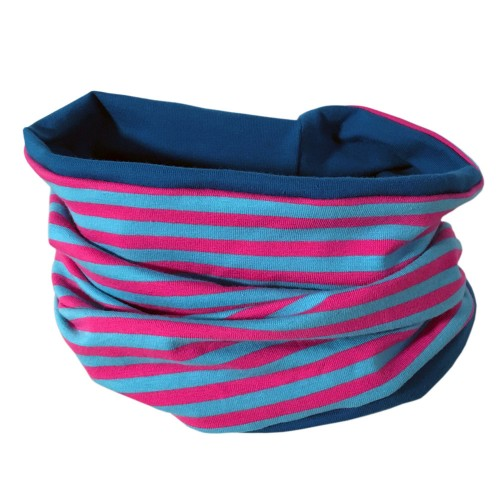 Loop scarf Turquoise/Pink striped & plain Petrol Blue | bingabonga