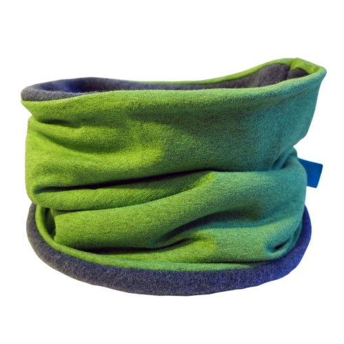 Winterproof Organic Loop Scarf Lime melange/Blue | bingabonga