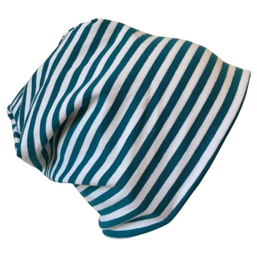 "Cap ""Line"" turquoise-white ringed organic cotton | bingabonga"