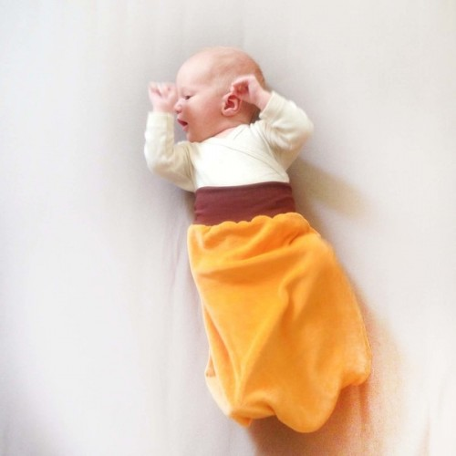 Swaddle Blanket Yellow/Brown, Organic Cotton Plush | bingabonga