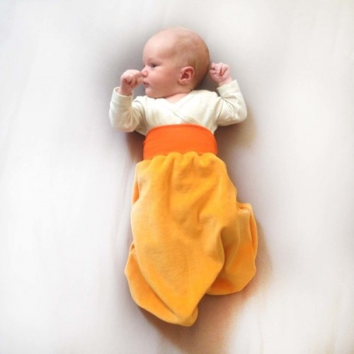 Swaddle blanket Yellow/Orange organic cotton plush | bingabonga
