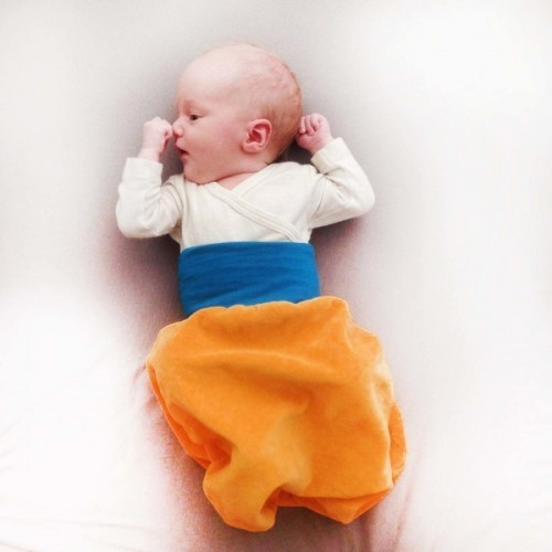 Swaddle blanket Yellow/Teal organic cotton plush | bingabonga