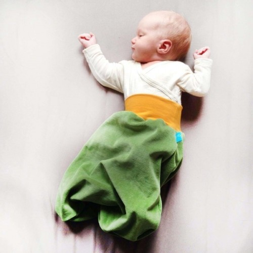 Swaddle blanket Green/Yellow organic cotton plush | bingabonga