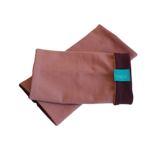 Bicolour Arm Warmers for girls & women, organic cotton Old Pink/Aubergine | bingabonga