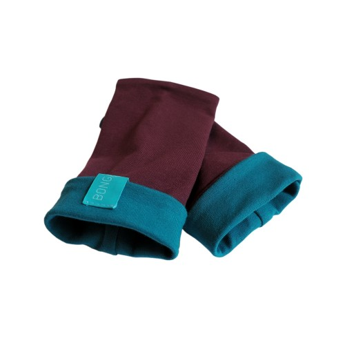 Bicolour Arm Warmers for girls & women, organic cotton Aubergine/Teal | bingabonga