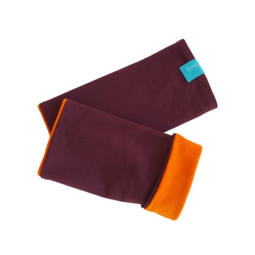 Bicolour Arm Warmers for girls & women, organic cotton Aubergine/Cinnamon | bingabonga