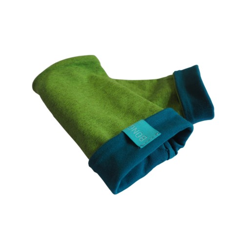 Bicolour Arm Warmers for girls & women, organic cotton Lime-Melange/Teal | bingabonga