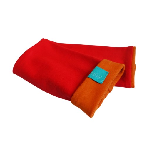 Bicolour Arm Warmers for girls & women, organic cotton Red/Cinnamon | bingabonga