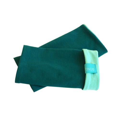 Bicolour Arm Warmers for girls & women, organic cotton Emerald/Mint | bingabonga