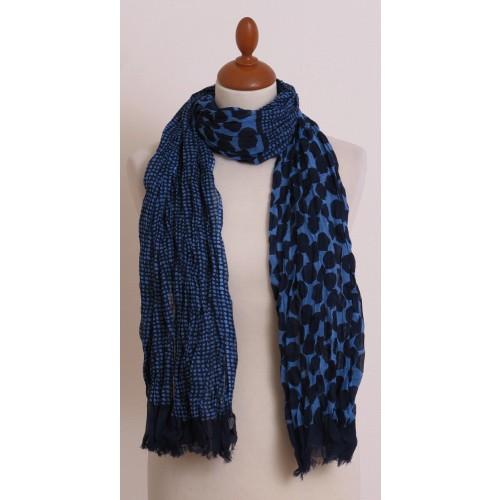 Blauer Schal mit Punkten aus Bio Baumwolle | billbillundbill