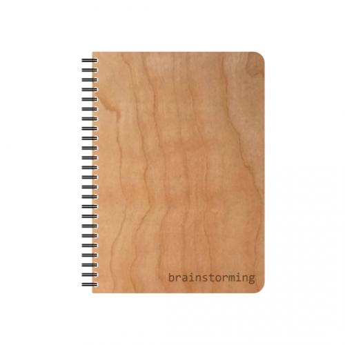 Brainstorming eco notebook in cherrywood veneer cover & FSC paper