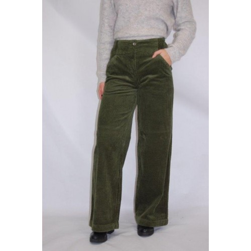 bloomers Marlene Wide-Wale Corduroy Trousers, olive, Organic Cotton