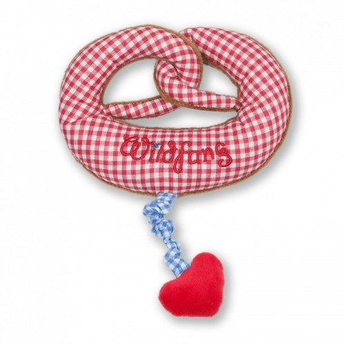 Plush Pretzel Musical Clock red/white chequered | nyani