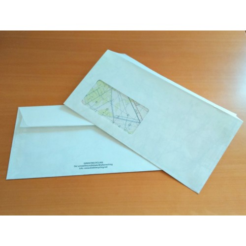Direct recycled Envelopes 110 x 220 mm with window & seal