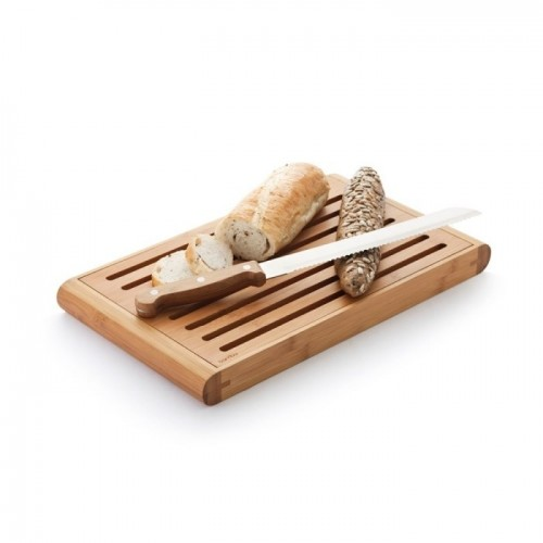 Fair trade bamboo breadboard with crumb catcher | bambu