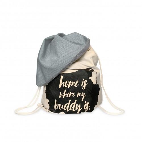 Grey Dog Blanket & Backpack for on the go BUDDY Dog Bag