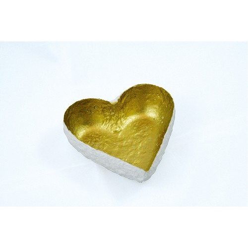 White-Gold Decoration Bowl HEART - fair trade | Sundara Paper Art