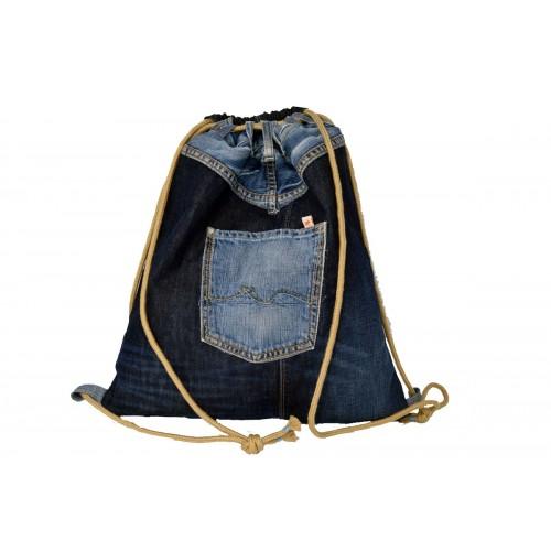 Upcycled denim beige gym bag & backpack | Second Hound