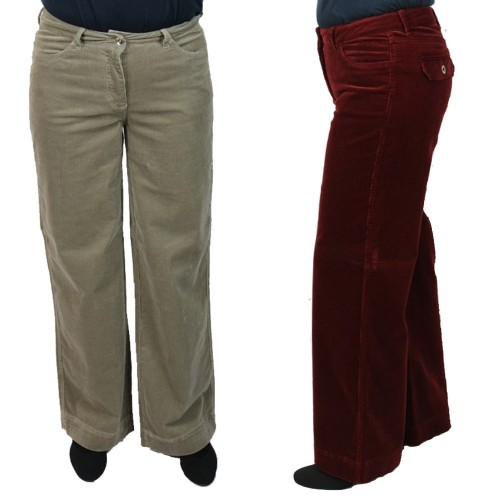 Organic Cotton Bootcut-Stretch Corduroy Trousers Beige & Bordeaux | bloomers