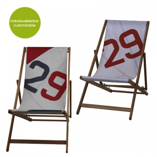 Red Deckchair Transatlantic 29 made of sail cloth | Marron Rouge
