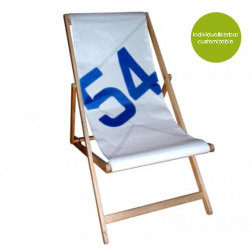 White-blue recycled Deckchair Transatlantic 54 | Marron Rouge