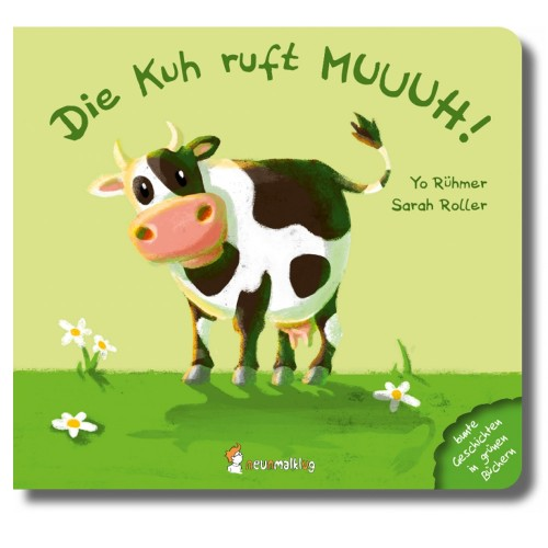 The cow shouts MOO! - German baby picture book from 6 m.