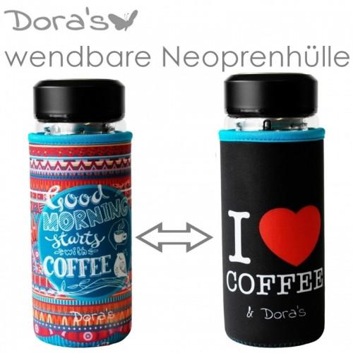 Dora's I love Coffee thermos glass cup with neoprene sleeve