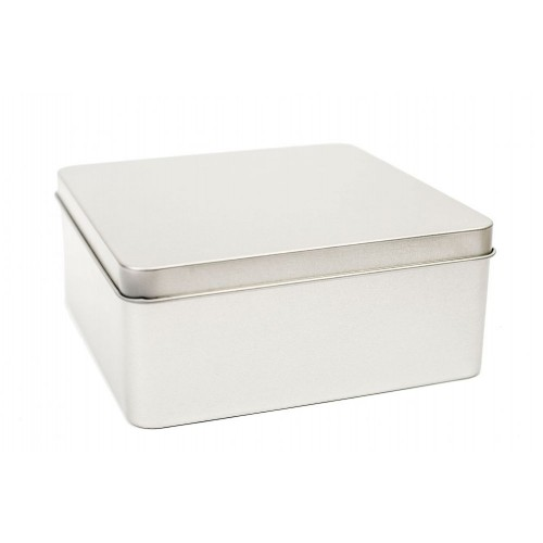 Eco square tin box with hooded lid 140x140x60 mm | Tindobo